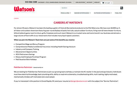 Screenshot of Jobs Page watsons.com - Careers - captured July 14, 2017