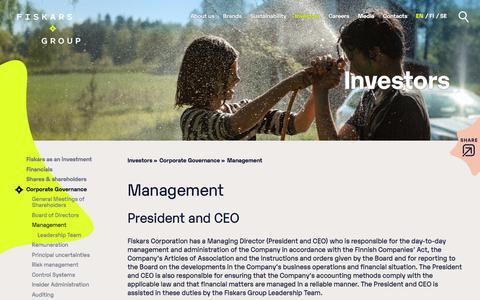 Screenshot of Team Page fiskarsgroup.com - Management | Fiskars Group - captured Nov. 2, 2019