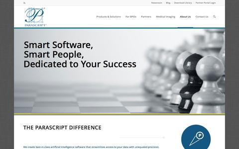 Screenshot of About Page parascript.com - Parascript Difference | Document Recognition Technology | OCR - captured March 12, 2017