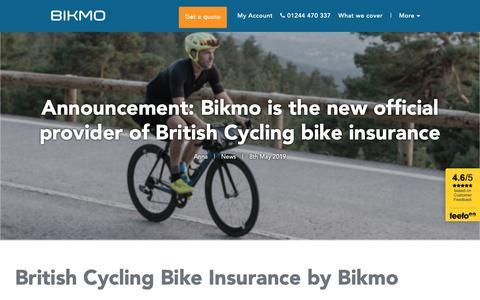 Screenshot of Press Page bikmo.com - Partnership announcement: British Cycling bike insurance by Bikmo - captured June 20, 2019