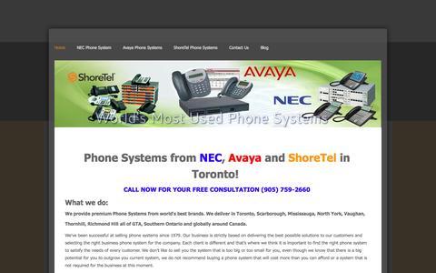 Screenshot of Home Page phonesystemsintoronto.com - Phone Systems in Toronto | NEC, Avaya, ShoreTel | SV8100, SV8300, SV8500, Avaya IP Office, ShoreGear - Home - captured Jan. 30, 2015