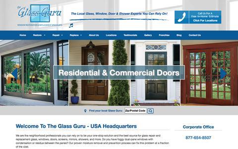 Screenshot of Home Page theglassguru.com - Residential Glass Shop | The Glass Guru - captured Nov. 8, 2017