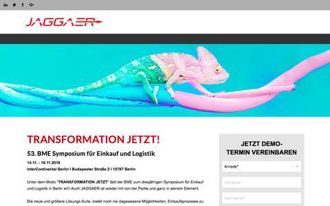 Screenshot of Landing Page jaggaer.com - 53. BME Symposium in Berlin - captured Sept. 22, 2018