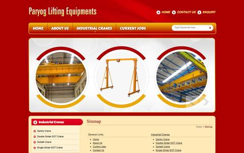 Screenshot of Site Map Page paryoglifting.in - Site Map - Paryog Lifting Equipments website - captured Oct. 1, 2014