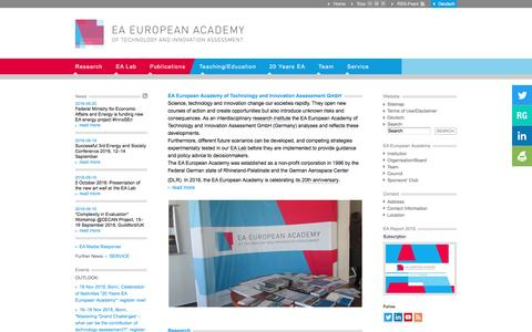 Screenshot of Home Page ea-aw.org - EA European Academy of Technology and Innovation Assessment - captured Oct. 1, 2016