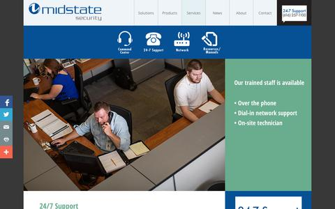 Screenshot of Support Page midstatesecurity.com - Midstate Security | 24/7 Support - captured Nov. 3, 2014