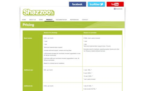Screenshot of Pricing Page shazzoo.com - Shazzoo | Content Management, CMS, User Friendly, Google, SEO, Search friendly, WYSIWYG, XML - captured March 4, 2016