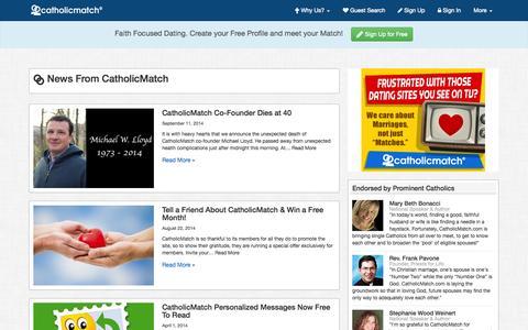 Screenshot of Press Page catholicmatch.com - News From CatholicMatch - captured Sept. 23, 2014