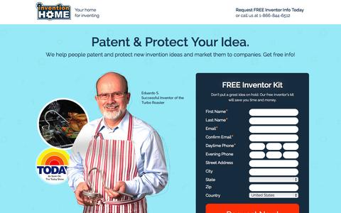 Screenshot of Landing Page inventionhome.com - Patent Your Idea | InventionHome - captured Oct. 27, 2014