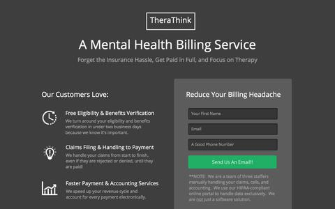 Screenshot of Signup Page therathink.com - A Mental Health Billing Service - TheraThink.com - captured July 8, 2018