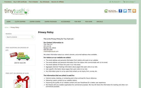 Screenshot of Privacy Page tinytush.com - Tiny Tush Privacy Policy - captured Sept. 3, 2016