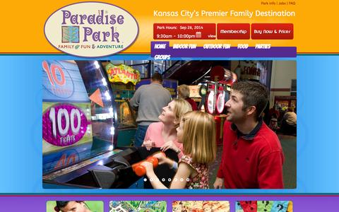 Screenshot of Home Page paradise-park.com - HOME | Paradise ParkParadise Park | Family Fun & Adventure - captured Sept. 26, 2014