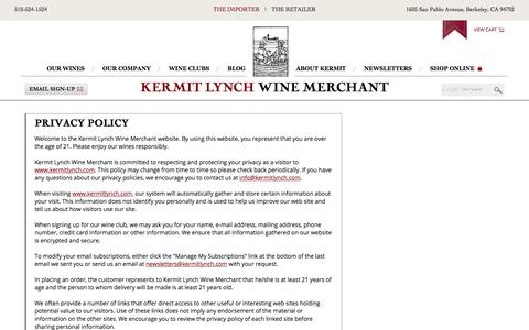 Privacy Policy | Kermit Lynch Wine Merchant