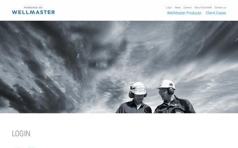 Screenshot of Login Page exprosoft.com - Login | WellMaster - captured Oct. 28, 2014
