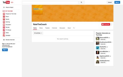 Screenshot of YouTube Page youtube.com - RateTheCoach  - YouTube - captured Nov. 5, 2014