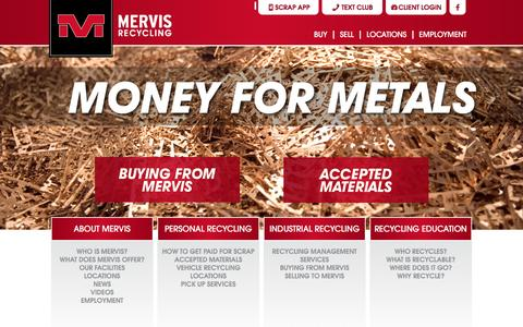Screenshot of Home Page mervis.com - Mervis Recycling - captured Feb. 13, 2016