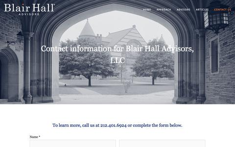 Screenshot of Contact Page blairhalladvisors.com - Contact — Blair Hall Advisors - captured Aug. 2, 2018