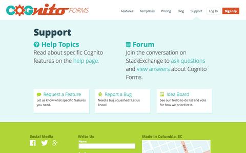 Screenshot of Support Page cognitoforms.com - Cognito Forms Support - captured Oct. 28, 2014