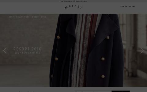 Screenshot of Home Page maiyet.com - Maiyet - captured Jan. 2, 2016