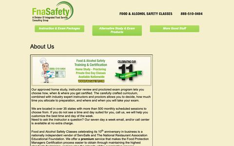 Screenshot of About Page fnasafety.com - About Us - Food and Alcohol Safety ClassesFood and Alcohol Safety Classes - captured Nov. 14, 2018