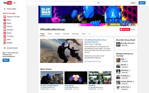 Screenshot of YouTube Page youtube.com - OfficialBlueManGroup  - YouTube - captured Oct. 23, 2014