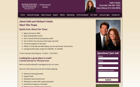 Screenshot of Team Page pattiurbatis.com - About Patti and Michael Urbatis, your Central Ohio Real Estate Professionals - captured April 23, 2017