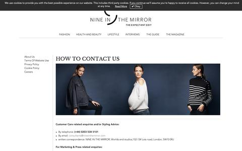 Screenshot of Contact Page nineinthemirror.com - Contact Us - NINE IN THE MIRROR - captured Nov. 19, 2018