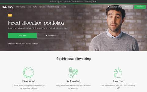 Fixed allocation portfolios - passive investing - Nutmeg