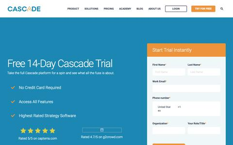 Screenshot of Signup Page Trial Page executestrategy.net - Start Free Trial of Cascade - captured June 3, 2019
