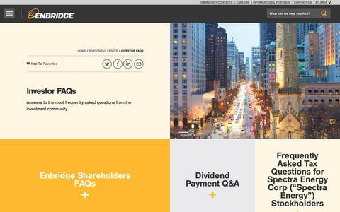 Screenshot of FAQ Page enbridge.com - Investor FAQs - Enbridge Inc. - captured April 19, 2018