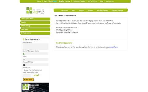 Screenshot of Testimonials Page spicewebs.in - web design chennai | customer feedback - spice webs - captured Sept. 1, 2016