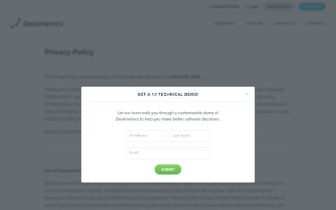 Deskmetrics Privacy Policy - Analytics for Desktop Applications