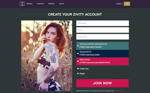Screenshot of Signup Page zivity.com - Zivity » Join the Club - captured Sept. 17, 2014