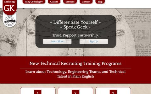 Screenshot of Home Page Contact Page Signup Page geekology.biz - Geekology - Technical Recruiting Training - captured Sept. 29, 2014