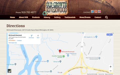 Screenshot of Maps & Directions Page oldgrowthriverwood.com - Old Growth Riverwood           Directions - captured Nov. 15, 2018