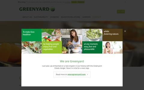 Screenshot of Contact Page greenyard.group - Contact -  Greenyard - captured May 7, 2017