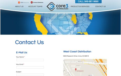 Screenshot of Contact Page Jobs Page core3tech.com - Contact Core 3 Tech - captured Oct. 22, 2014
