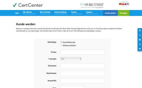 Screenshot of Signup Page certcenter.de - Kunde werden (CertCenter AG) - captured Nov. 2, 2016