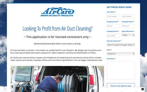Screenshot of Pricing Page air-care.com - The Best Air Duct Cleaning Equipment Available » Air-Care - captured May 29, 2017