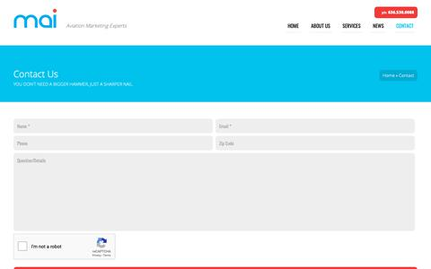 Screenshot of Contact Page mai-stl.com - Aviation Agency | Marketing Agency | MAI - Marketing Alternatives Inc. - captured Oct. 2, 2018