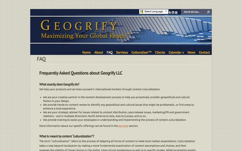 Screenshot of FAQ Page geogrify.com - FAQ | Geogrify - captured Oct. 2, 2014