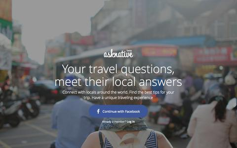 Screenshot of Home Page asknative.com - asknative — Your travel questions, meet their local answers - captured Sept. 30, 2014