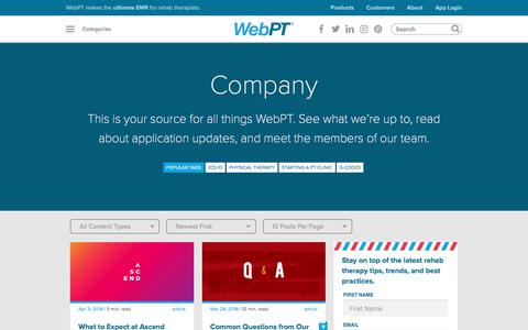 Screenshot of Blog webpt.com - Category - Company   WebPT - captured May 21, 2018