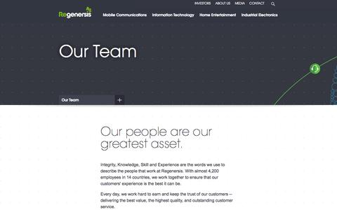 Screenshot of Team Page regenersis.com - Regenersis Supporting The Life Cycle Of Technology | Regenersis - Our Team - captured Oct. 7, 2014