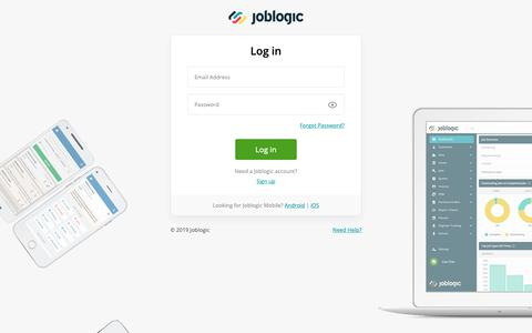 Screenshot of Login Page joblogic.com - Log In - JobLogic - captured May 22, 2019