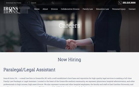 Screenshot of Jobs Page theironslawfirm.com - Careers available w/ Greenville NC Divorce & Family Law Attorneys - captured Oct. 15, 2017