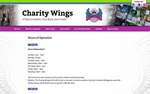 Screenshot of Hours Page charitywings.org - Hours of Operation - Charity Wings - captured Oct. 4, 2014