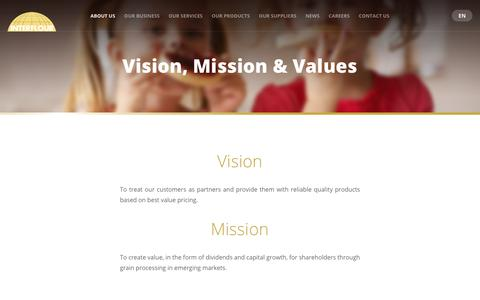 Screenshot of About Page interflour.com - Vision, Mission & Values - captured Sept. 26, 2018