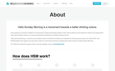Screenshot of About Page hellosundaymorning.org - About - Hello Sunday Morning - captured Sept. 19, 2014