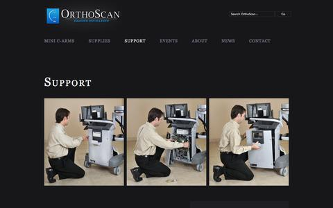 Screenshot of Support Page orthoscan.com - Support | OrthoScan - captured Sept. 17, 2014